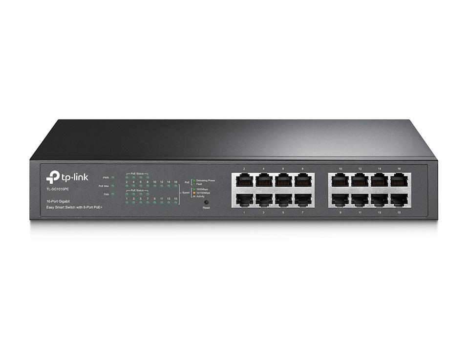 TP-Link TL-SG1016PE JetStream 16-Port Gigabit Desktop/Rackmount Switch with 8-Port PoE+ 32Gbps IEEE 802.3af/at Priority Function Mac Address