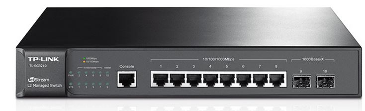 TP-Link T2500G-10TS (TL-SG3210) JetStream 8-Port Gigabit L2 Managed Switch with 2 SFP Slots