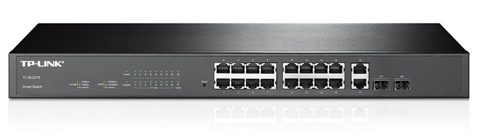 TP-Link TL-SL2218 16-Port 10/100Mbps + 2-Port Gigabit Smart Switch L2/L3/L4 QoS and IGMP snooping Integrated security strategy WEB/CLI managed