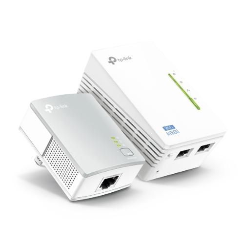 TP-Link TL-WPA4220KIT 300Mbps AV600 Wi-Fi Powerline Extender Starter Kit 600Mbps HomePlug AV 300Mbps Wireless 2x100Mbps LAN 2.4GHz 802.11bgn 300m rang