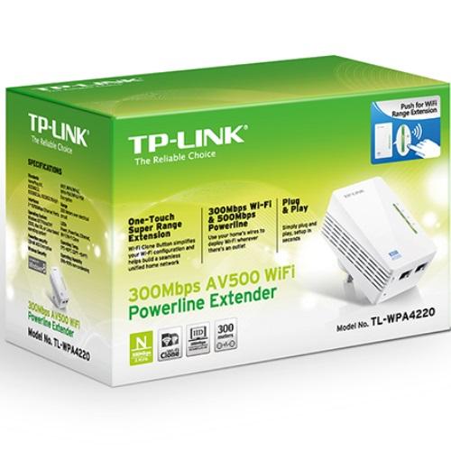 TP-Link TL-WPA4220 AV600 600Mbps 2-Ports Powerline Wi-Fi Adapter Range Extender HomePlug AV 2x100Mbps LAN 2.4GHz 802.11b/g/n 300m Range