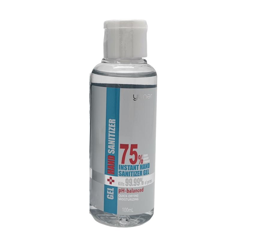 Yuner Gel Instant Hand Sanitiser Gel 100ml, 75% alcohol, quick drying, moisturzing, squeeze bottle