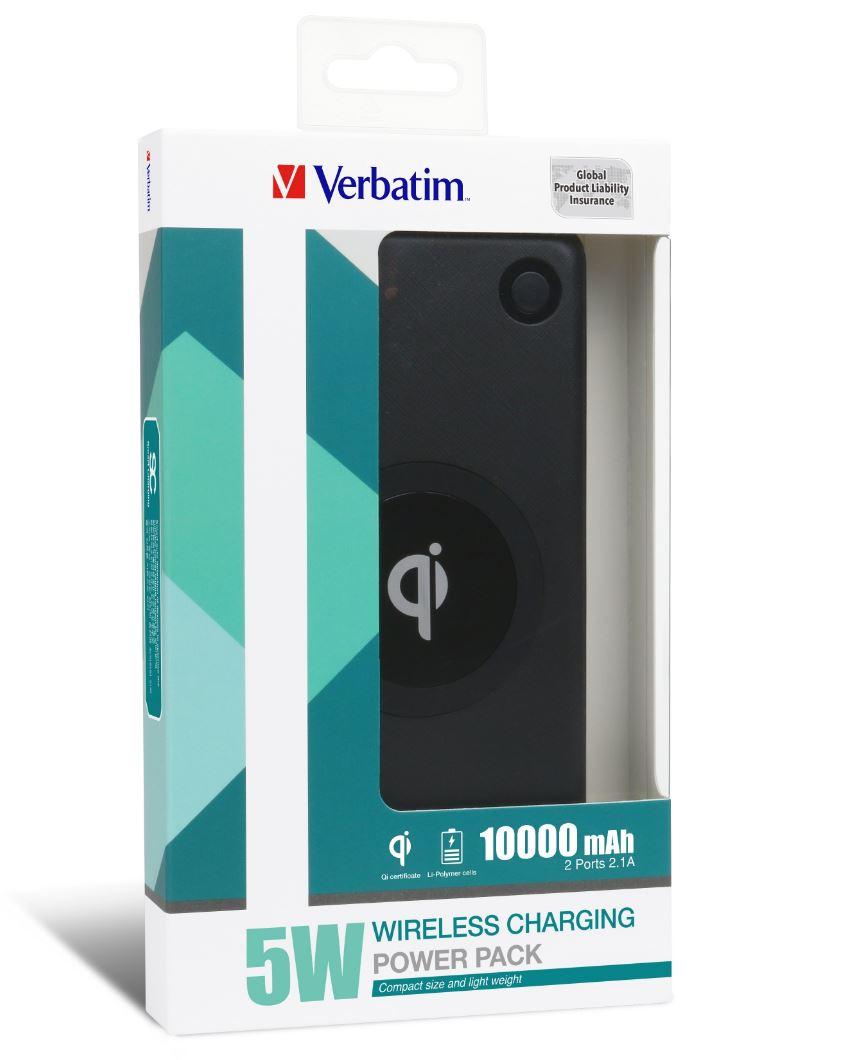 Verbatim Li-polymer Qi 5W Wireless Charging Power Pack 10,000mAh - Black