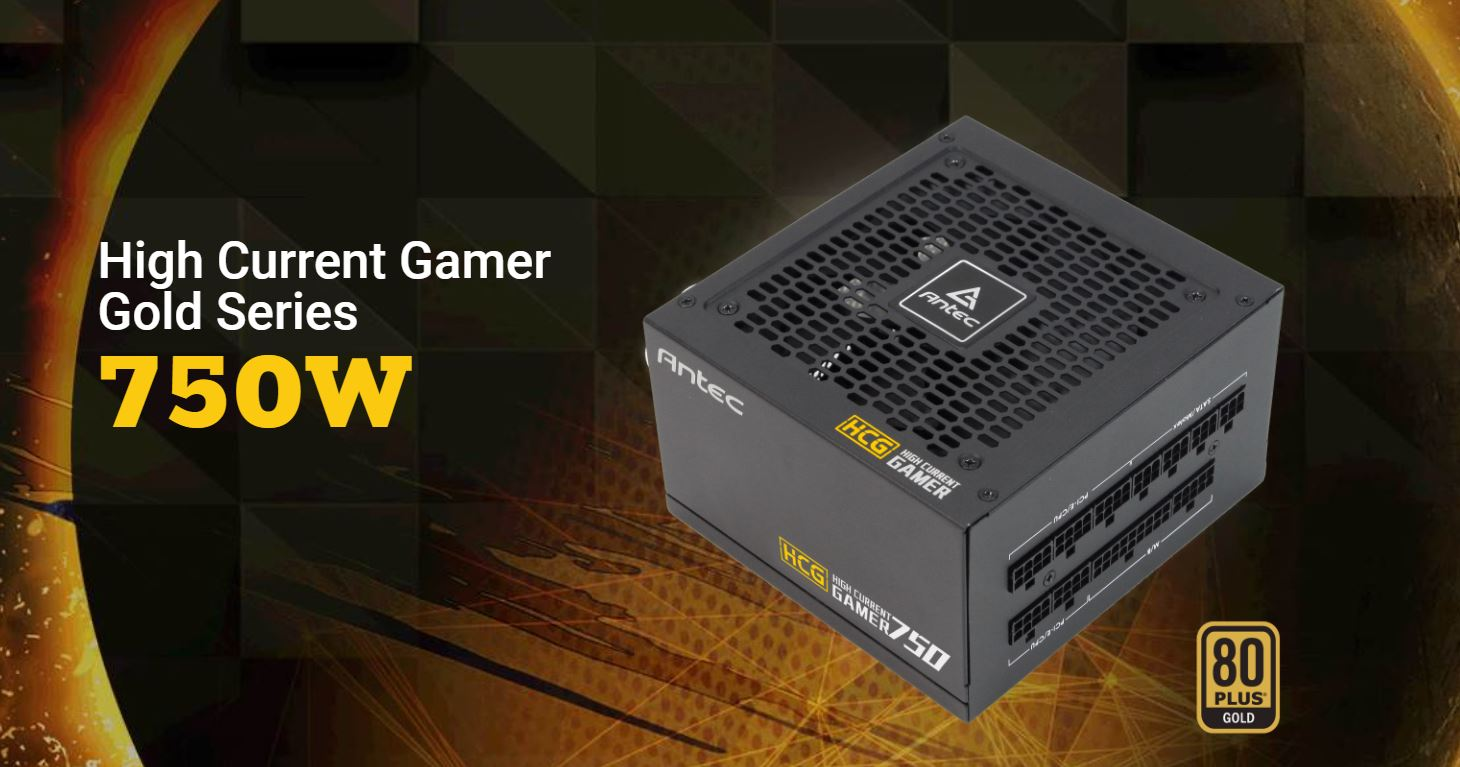 Antec HCG-750G 750w 80+ Gold Fully Modular PSU, 120mm FDB Fan, 100% Japanese Caps, DC to DC, Compact Design. 10 Years Warranty