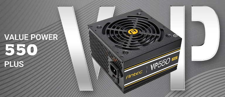 Antec VP550P PLUS 550w PSU. 80+ Certified @ 85% Efficiency, AC 120 - 240V, Continuous Power, 120mm Silent Fan. 3 Years Warranty. Performance and Value