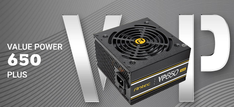 Antec VP650P PLUS 650w PSU. 80+ Certified @ 85% Efficiency AC 120V - 240V, Continuous Power, 120mm Silent Fan. 3 Years Warranty. Performance and Value
