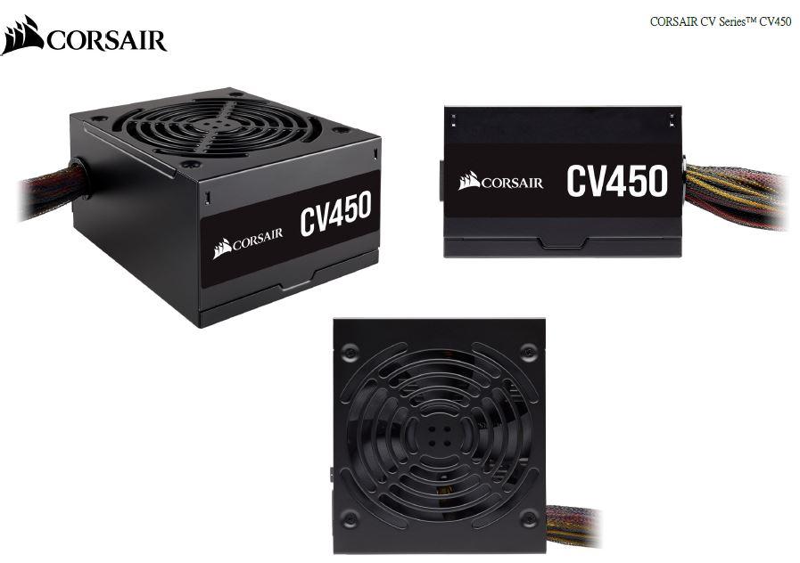 Corsair 450W CV Series CV450, 80 PLUS Bronze Certified, Compact design, ATX Power Supply