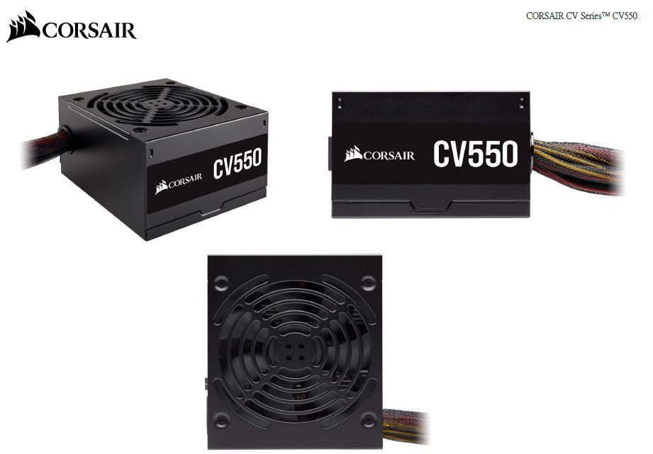 Corsair 550W CV Series CV550, 80 PLUS Bronze Certified, Compact design, ATX Power Supply