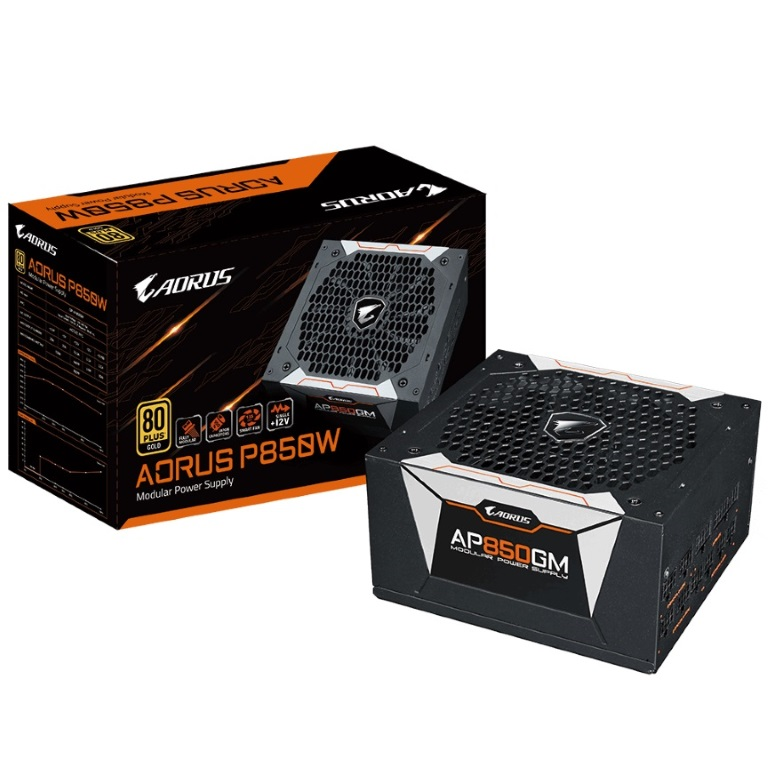 Gigabyte AP850GM AORUS 850W ATX PSU Power Supply 80+ Gold >90% Modular 135mm Fan Black Flat Cables Single +12V Rail Japanese Capacitors