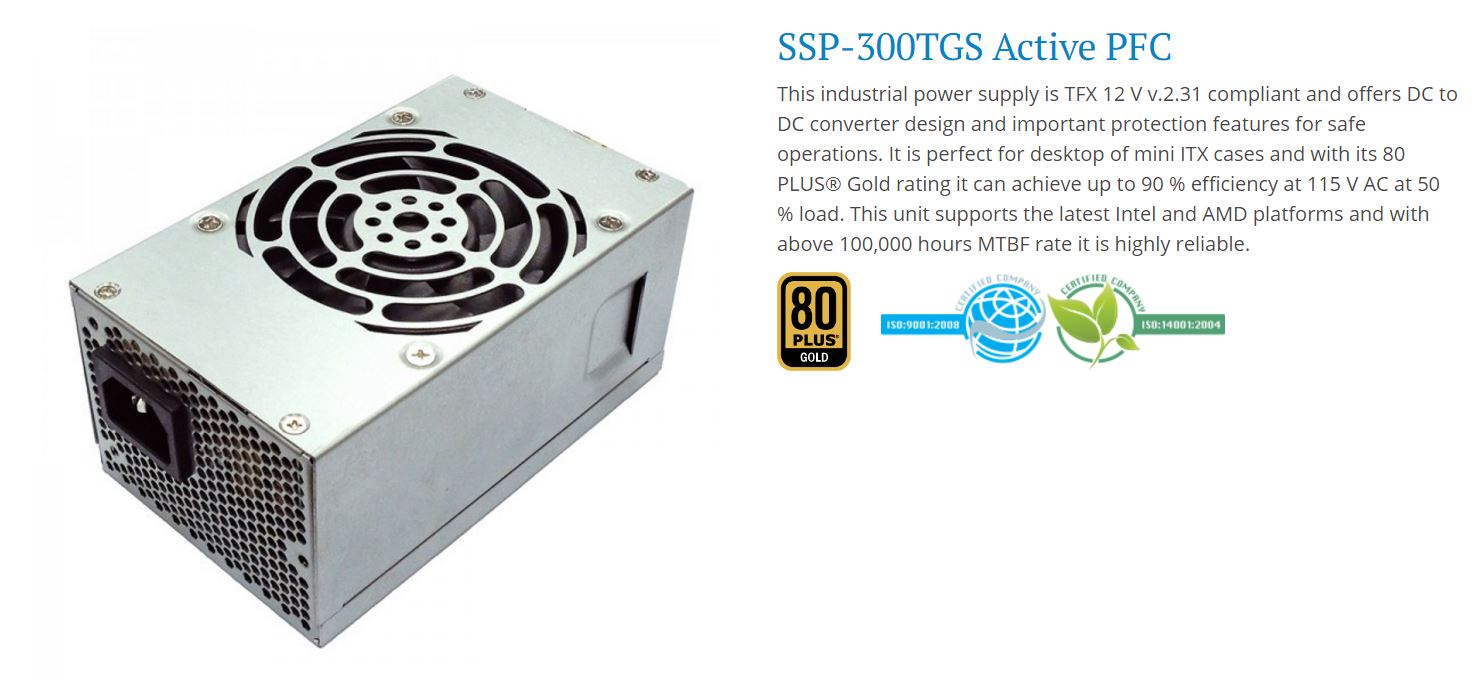 Seasonic TFX 300W,  80+ Gold APFC PSU, 3 Years Warranty,