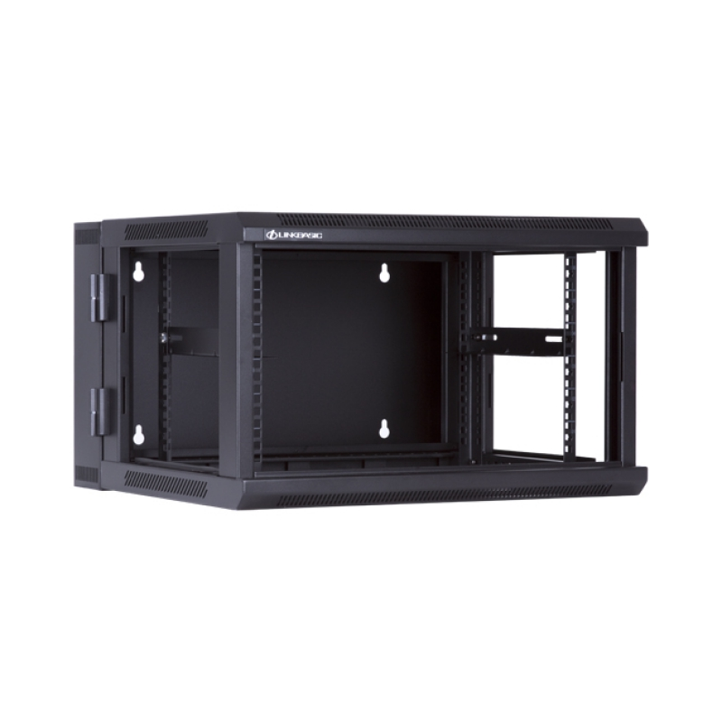 LinkBasic 6U, 600x550x368mm, Wall Mount Double Section Swing Frame with hinged rear access, Black Flat Pack