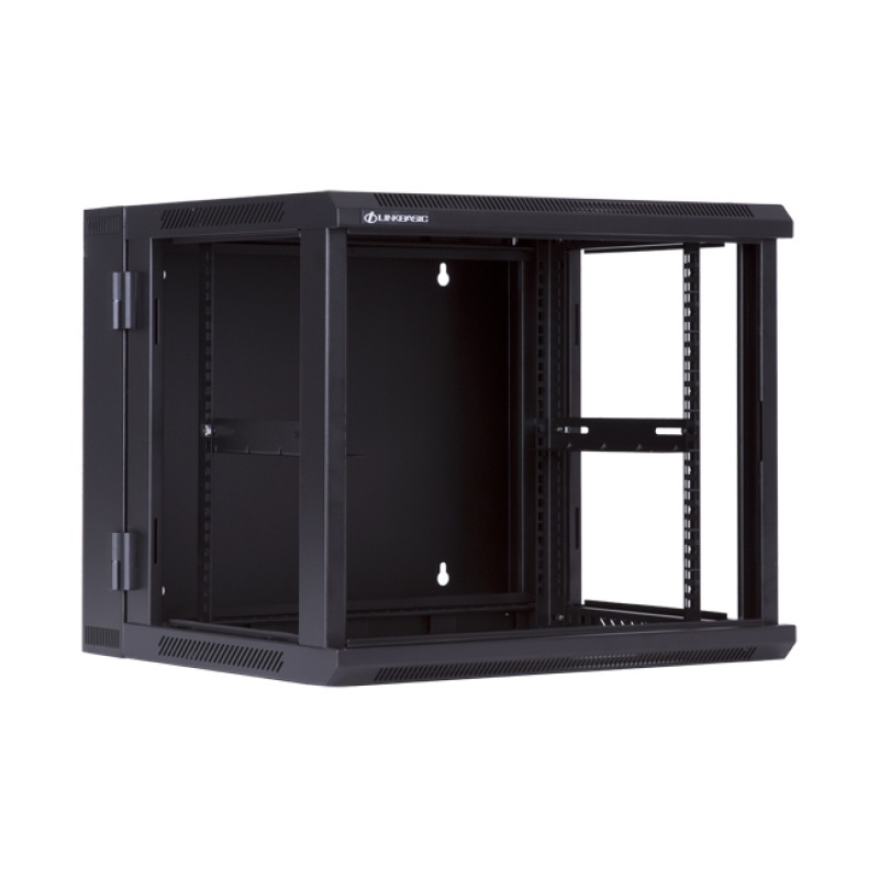 LinkBasic 9U, 600x550x501mm, Wall Mount Double Section Swing Frame with hinged rear access, Black Flat Pack
