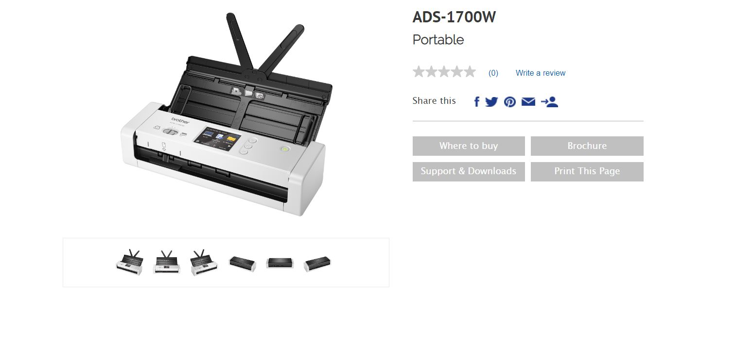 Brother ADS-1700W *NEW* COMPACT DOCUMENT SCANNER with Touchscreen LCD display & WiFi (25ppm) One Year Warranty