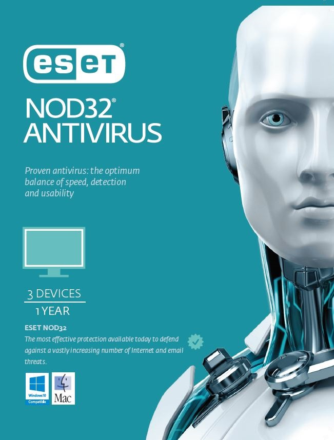ESET NOD32 Antivirus 3 Devices 1 Year Retail Download Card