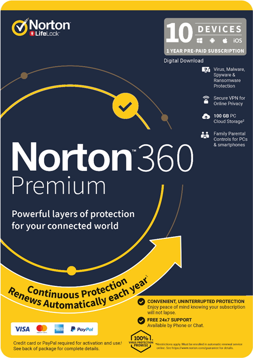 Norton 360 Premium, 100GB, 1 User, 10 Devices, 12 Months, PC, MAC, Android, iOS, DVD, VPN, Parental Controls, Retail Edition - Subscription