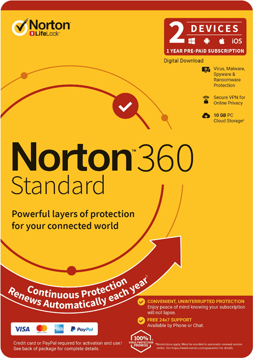 Norton 360 Standard, 10GB, 1 User, 2 Devices, 12 Months, PC, MAC, Android, iOS, DVD, Subscription