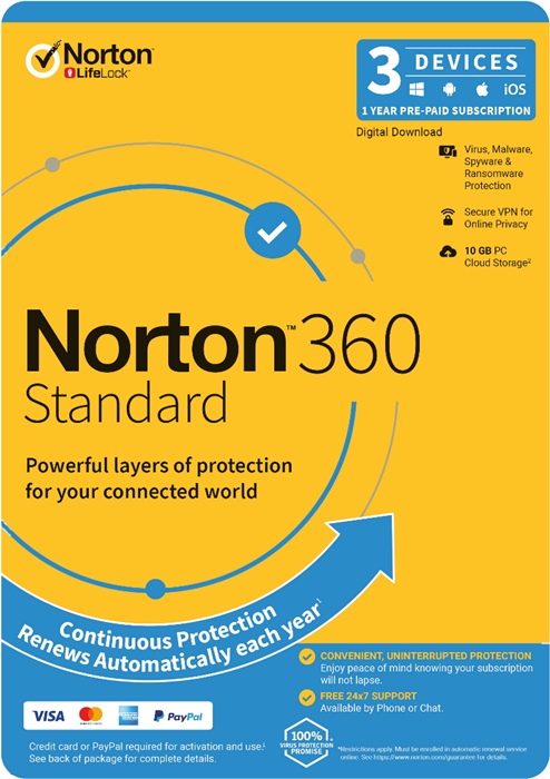 Norton 360 Standard, 10GB, 1 User, 3 Devices, 12 Months, PC, MAC, Android, iOS, DVD, Subscription
