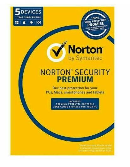 Norton 360 Standard, 10GB, 1 User, 5 Devices, 12 Months, PC, MAC, Android, iOS, DVD, Subscription