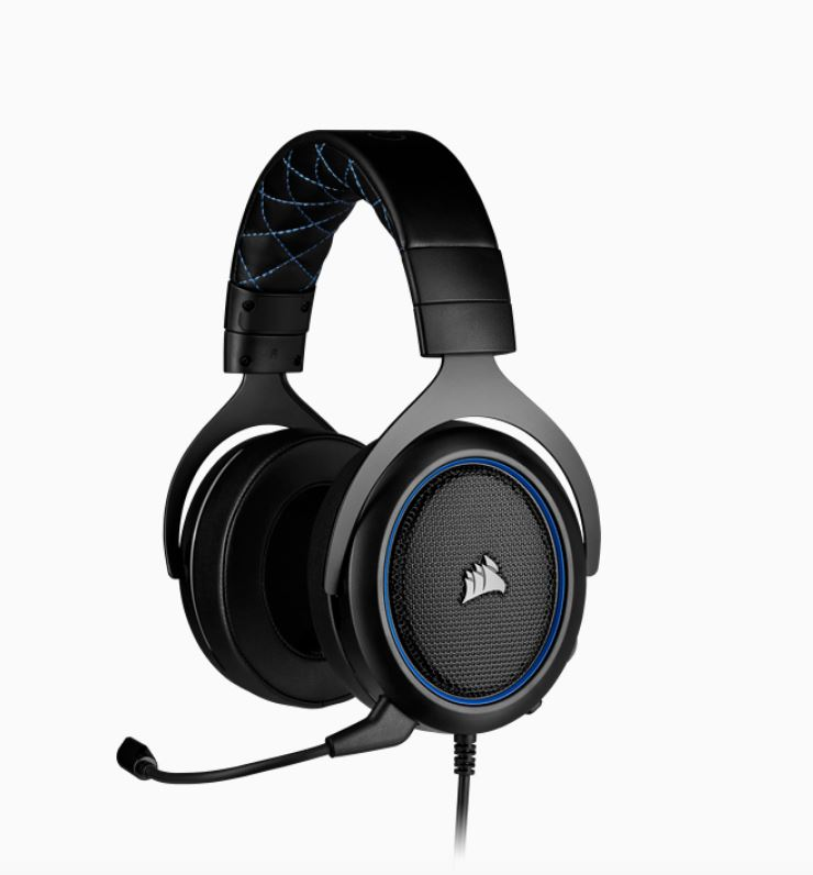 Corsair HS50 PRO Blue STEREO Gaming Headset, 50mm neodymium speaker, Optimized unidirectional microphone, Discord Certified