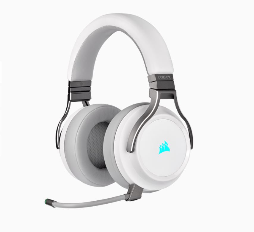 Corsair Virtuoso Wireless RGB White 7.1 Headset. High Fidelity Ultra Comfort, supports USB and 3.5mm Gaming Headset