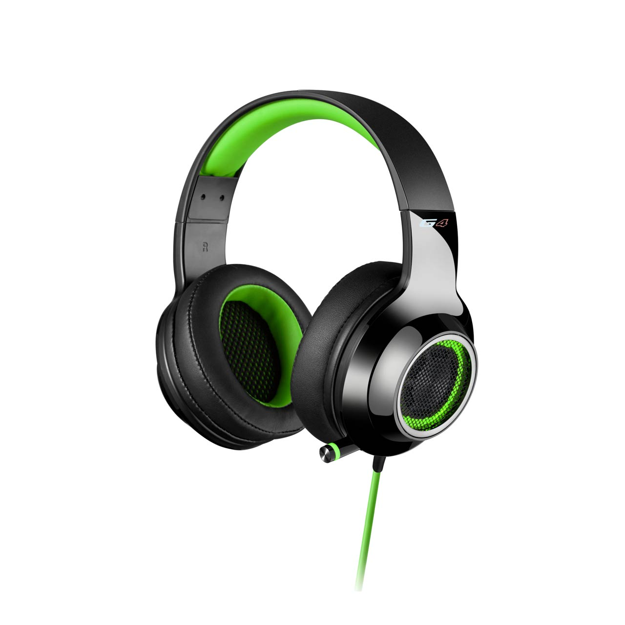 Edifier V4 (G4) 7.1 Virtual Surround Sound USB Gaming Headset Green - V7.1 Surround Sound/ Retractable Mic/LED Lights Mesh/USB/Gaming/PC/Laptop