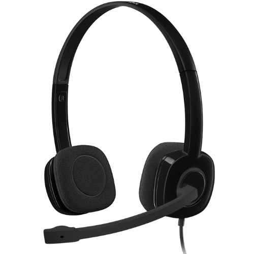 Logitech H151 Stereo Headset Light Weight Adjustable Headphone with Microphone 3.5mm jack In-line audio controls Noise-cancelling