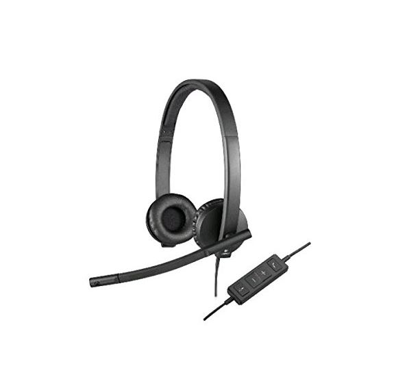 Logitech H570E Stereo Headset Light Weight Adjustable Headphone with Microphone USB In-line audio controls Noise-cancelling
