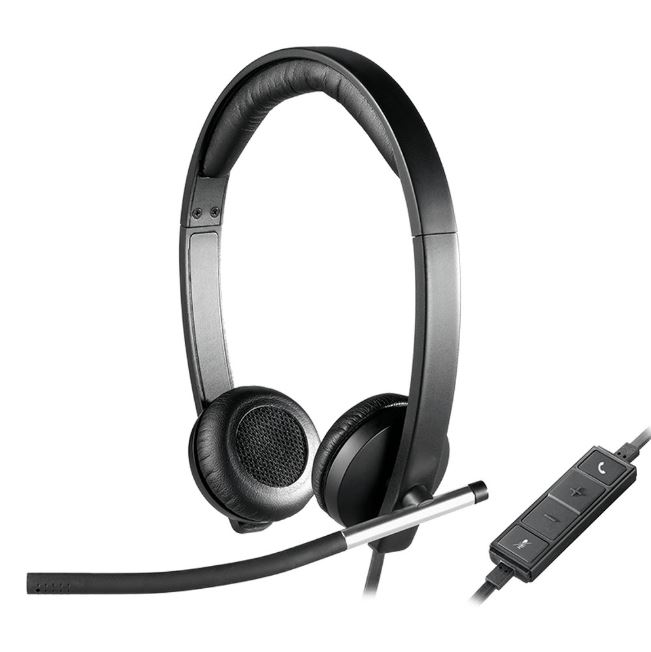 Logitech H650E Wired Headset Stereo with Noise Canceling Microphone business Headband LED no tangle cable