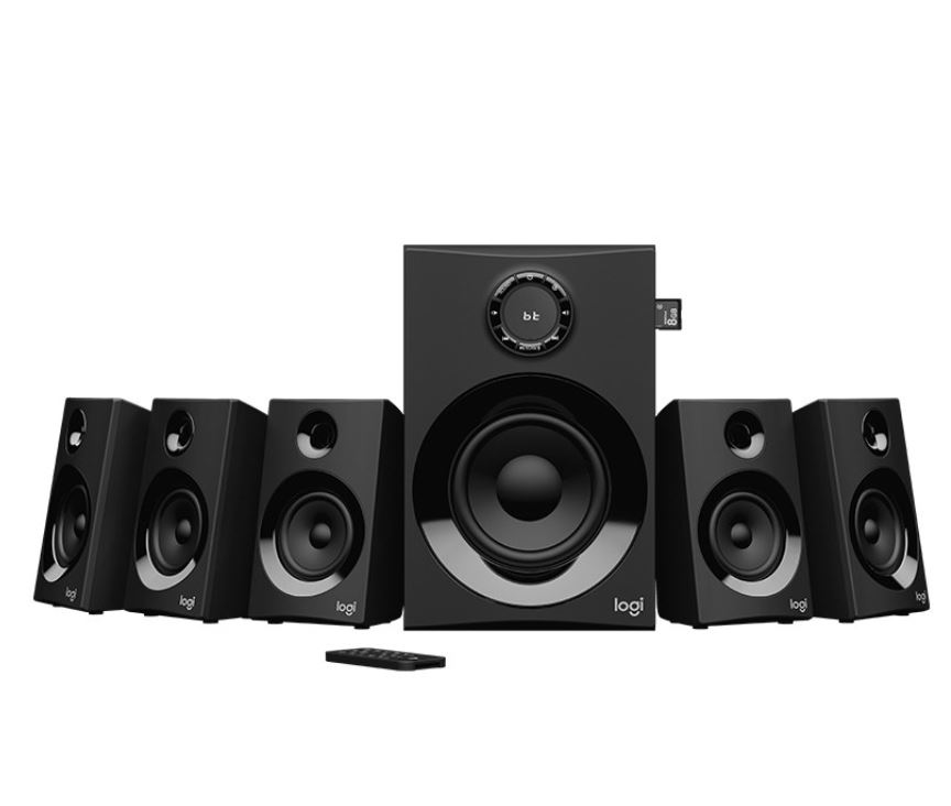Logitech Z607 5.1 Surround Sound Speakers SD USB FM 160 WATTS 133.35 mm subwoofer extra-long rear cables