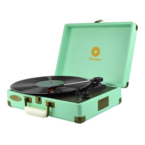 mbeat® Woodstock Retro Turntable Player TIIFFANY BLUE