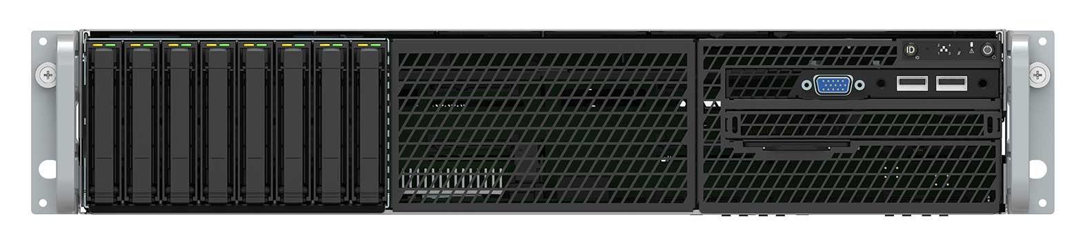 Intel Prebuilt Server, 2U Rackmount, Xeon 4208 (1/2), 32GB ECC RAM (2/24) , 2.5' x 8 HDD Bays, VROC, NVME Ready, BBU, 10Gbe, 1100w RPS, 3 Yr Warranty