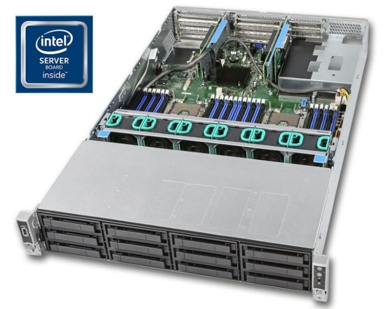 Intel 2U Rackmount Server R2312WFTZS,Intel Xeon Bronze 3104 (1/2), 12 x 2.5'/ 3.5' HS Bays, 16GB (1/24), HW Raid + BU, 1300w RPSU(2/2) RMM, 2 x 10GbE,
