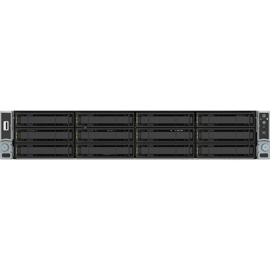 Intel Prebuilt Server, 2U Rackmount, Xeon 4208 (1/2), 32GB ECC RAM (2/24) , 3.5' x 12 HDD Bays, 8port LSI3108, BBU, 10Gbe,RMM,  1300w PSU (1/2), 3 Yr