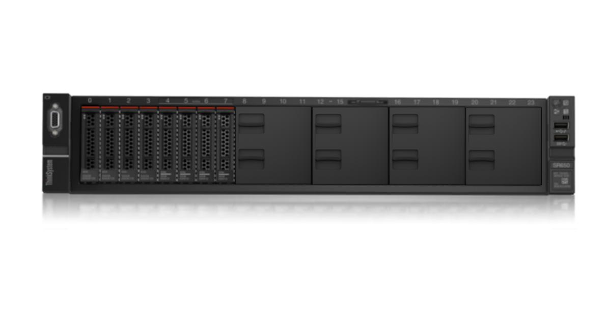 LENOVO ThinkSystem SR650 2U Rack Server, 1x Intel Xeon Silver 4208, 1 x16GB 2Rx8, 8 x 2.5' HS HD Bays, HW RAID 530-8i PCIer, 1x750W, 3 Yr Warranty NBD