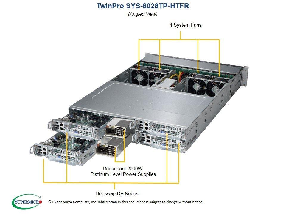 Supermicro SuperServer 6028TP-DNCTR 2RU Two Node Barebones Server, Dual LGA2011, 2 x 10Gbe, 6 x 3.5' HDD per node, LSI3008 Raid Controller, 1600w RPS