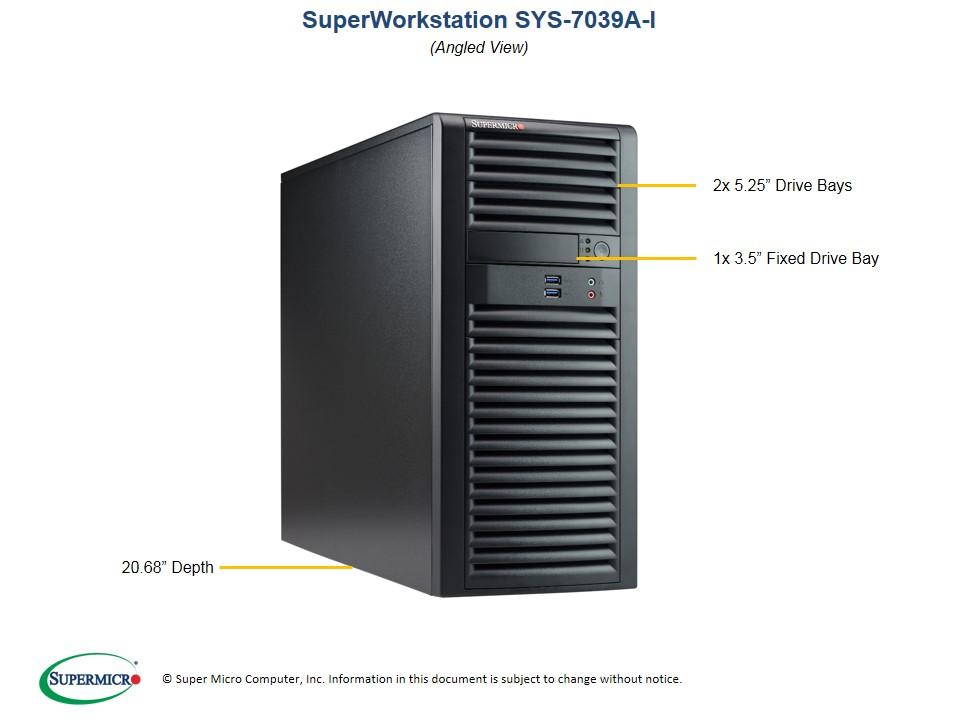 Supermicro SuperWorkstation 7039A-I, 4U Tower, Dual Socket LGA3647, 16x DIMM, Intel C621, 2 x GB LAN, IMPI, 4 x 3.5' HDD Fixed, 1200w PSU
