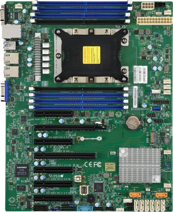 Supermicro X11SPL-F Server Motherboard, ATX, Intel C621, LGA 3647, 1st  2nd Gen Intel Xeon, 8x DIMM, 2x GBe LAN, 6x PCIe x8, 1x PCIe x4