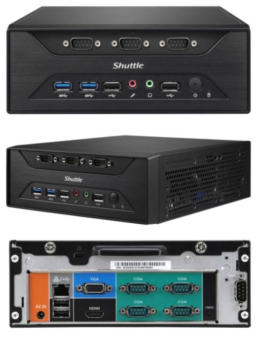 Shuttle XC60J Fanless 3L PC - Celeron J3355, 2x DDR3L SODIMM, 1x 2.5 or 3.5' HDD, M.2, 8x RS232, 1x VGA + 1x HDMI, USB3.0, WLAN optional, VESA optiona