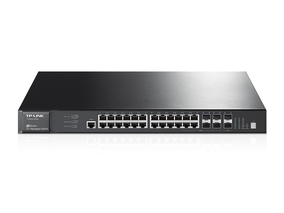 TP-Link T2700G-28TQ JetStream 28-Port Gigabit Stackable L2+ Managed Switch 24x1Gbps LAN Ports 4 combo gigabit SFP Slots LS