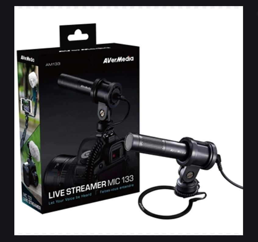 AverMedia AM133 Ultra Mobile Compact Microphone, Live Streaming, Record like a Pro. Connect through 3.5mm Audio-in Jack. 12 Months Warranty