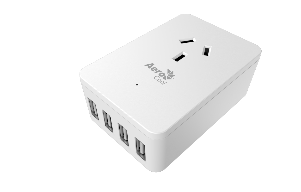 Aerocool ASA ST1A4U2 Power Board Wall-Mounted w/ 1 AC Outlet and 4 USB Charging Ports, 5V/2.4A  LS