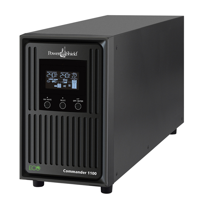PowerShield Commander 1100VA / 990W Line Interactive Pure Sine Wave Tower UPS with AVR. Telephone / Modem