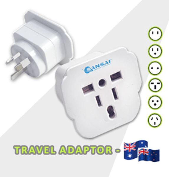 Sansai Travel Adaptor for 240V equipment from Britain, USA, Europe, Japan, China, HongKong, Singapore, Korea  Italy, to use in Australia.