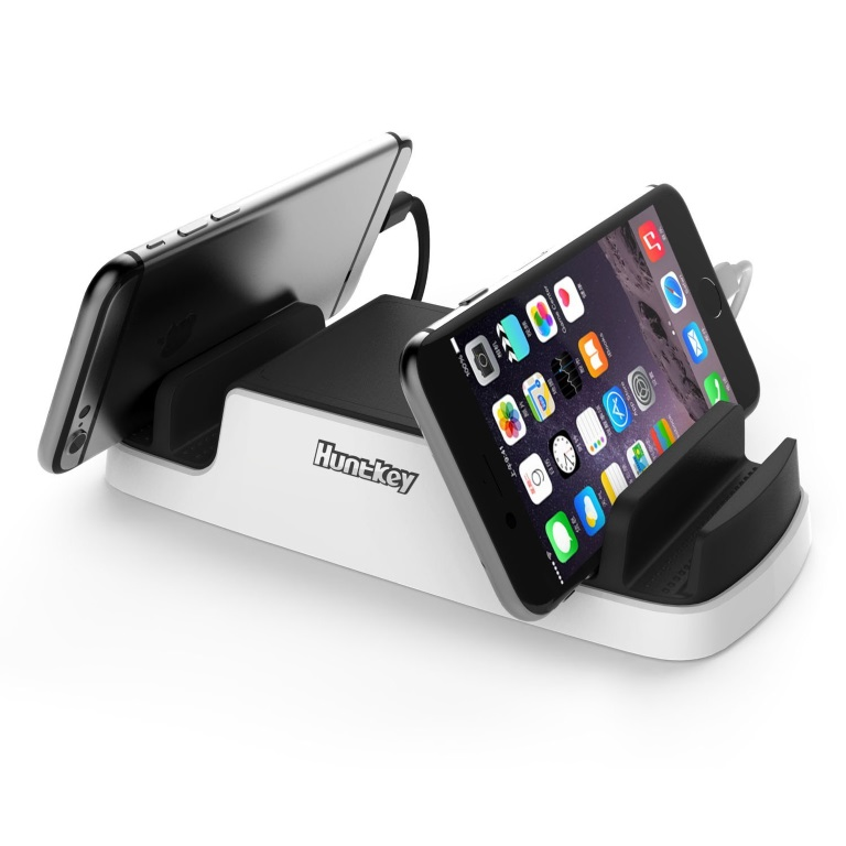 Huntkey Smart USB Charging Dock with 4 USB 2.4A ports and 2 Micro USB Connectors - Perfect for mobile phone/tablet/IPAD charging