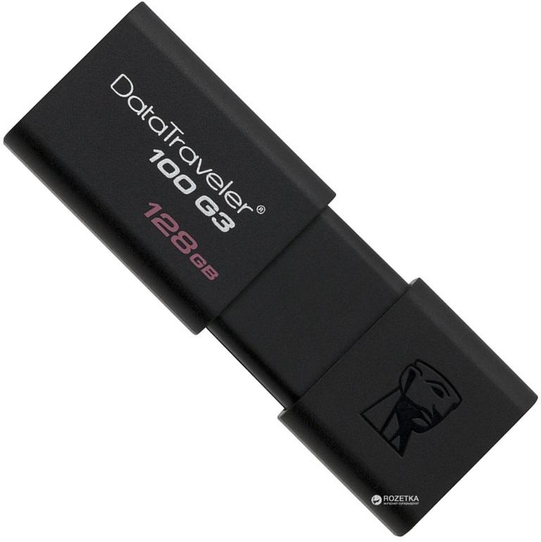 Kingston DT100G3/128GB 128GB USB3.0 100MB/s Read Flash Drive Memory Stick Thumb Key DataTraveler Retail Pack 5yrs warranty ~DT100G3/128GBFR
