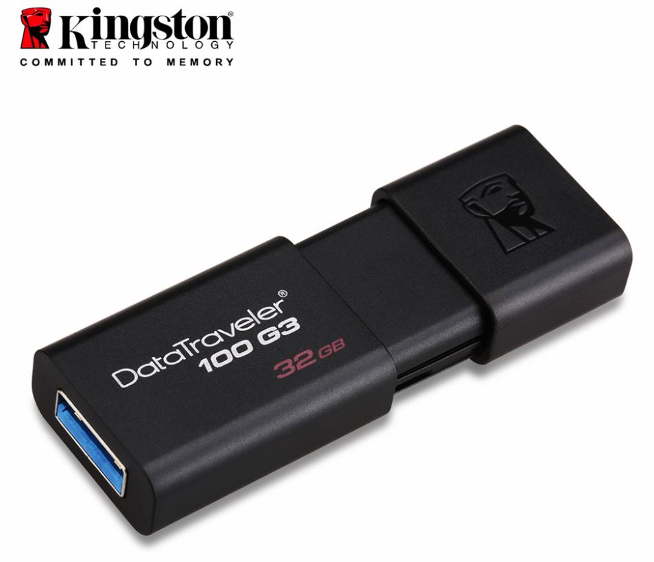 Kingston 32GB USB3.0 Flash Drive Memory Stick Thumb Key DataTraveler DT100G3 Retail Pack 5yrs warranty LS->USK-DT100G3-32G DT100G3/32GB