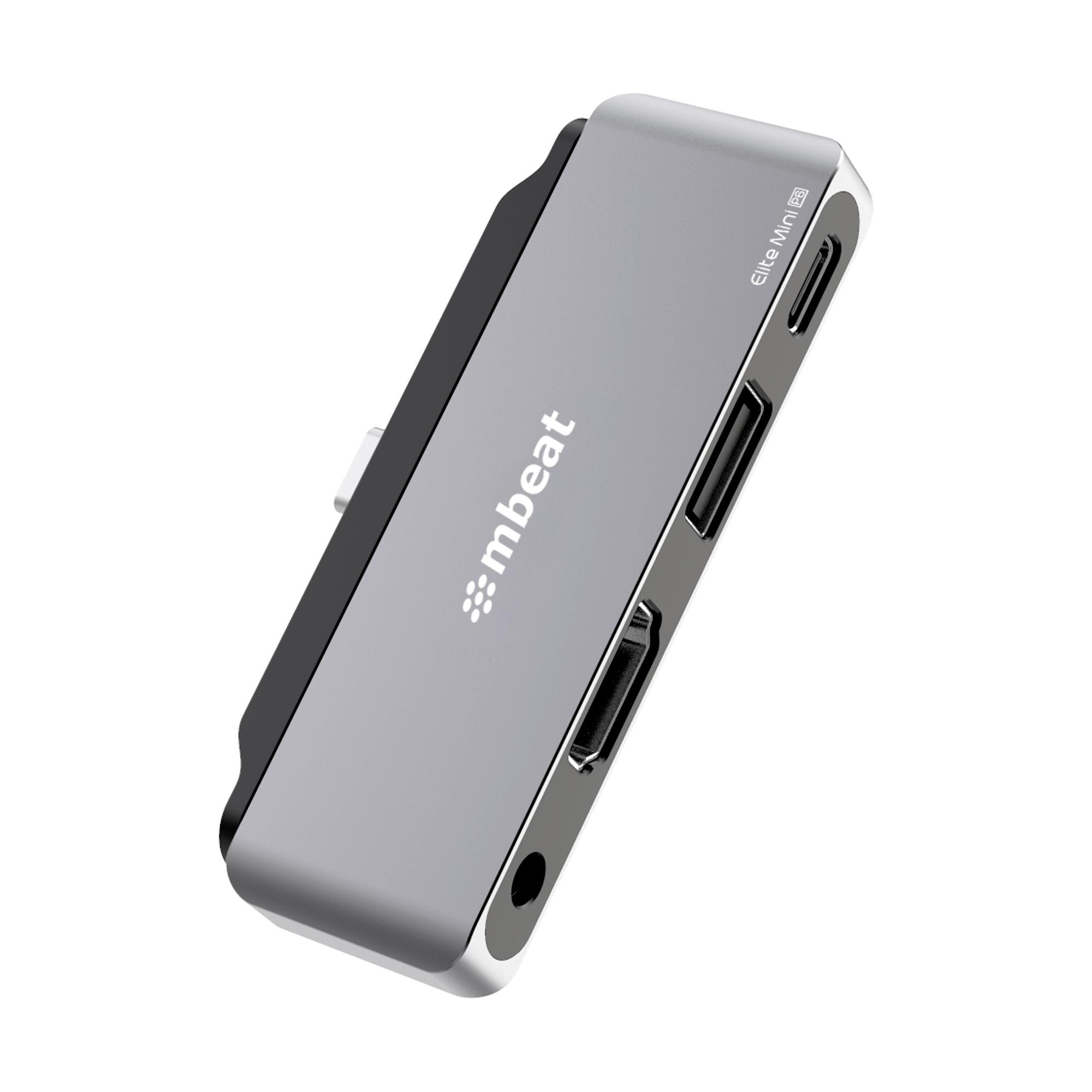 mbeat®  Elite Mini 4-In-1 USB-C Mobile Hub for iPad Pro, USB-C Tablet  Laptop/Notebook