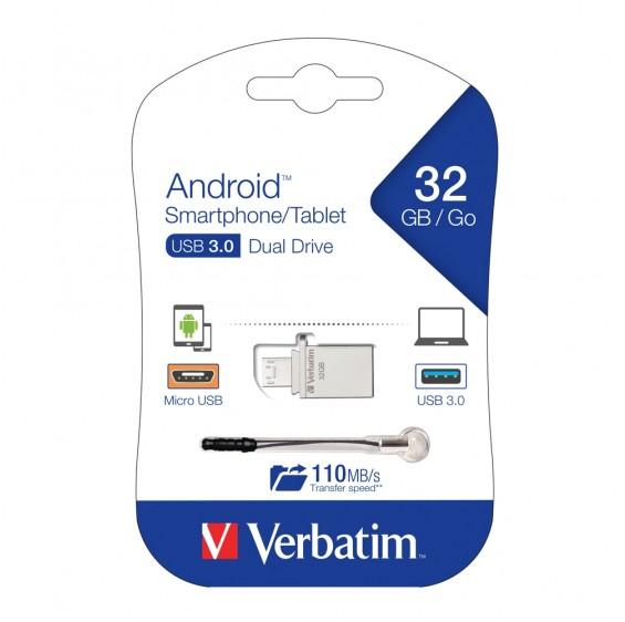 Verbatim Store'n'Go OTG Micro USB 3.0 Drive 32GB Android Smartphone/Tablet Dual USB(LS)