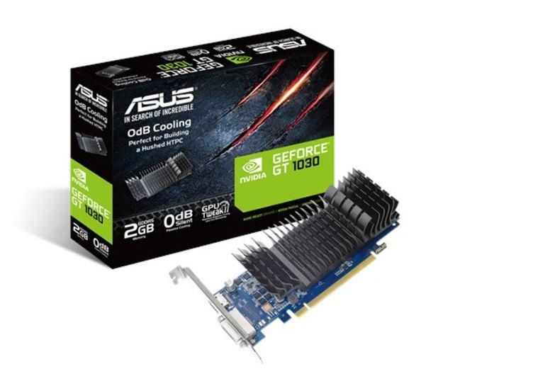 Asus nVidia GT1030-SL-2G-BRK PCIe Card GDDR5 8K 7680x4320 1xDP 1xHDMI 1xDVI 1455/1354 MHz