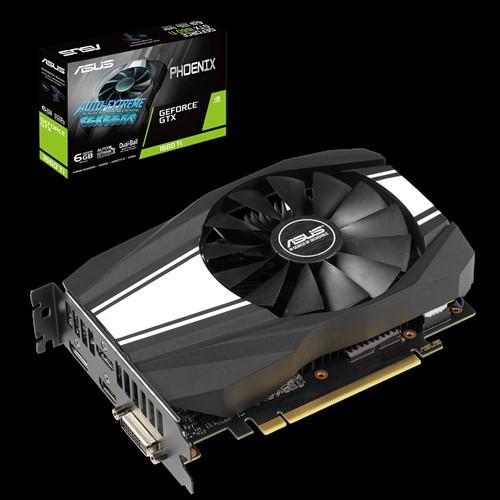 ASUS nVidia PH-GTX1660TI-6G Phoenix GTX1660Ti GDDR6 6GB 1 Fan, 1xDP/2xHDMI/1xDVI 18100Boost, NON-RGB